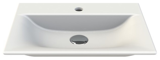 Rectangle White Ceramic Wall Mounted Or Vessel Sink, White, One Hole.