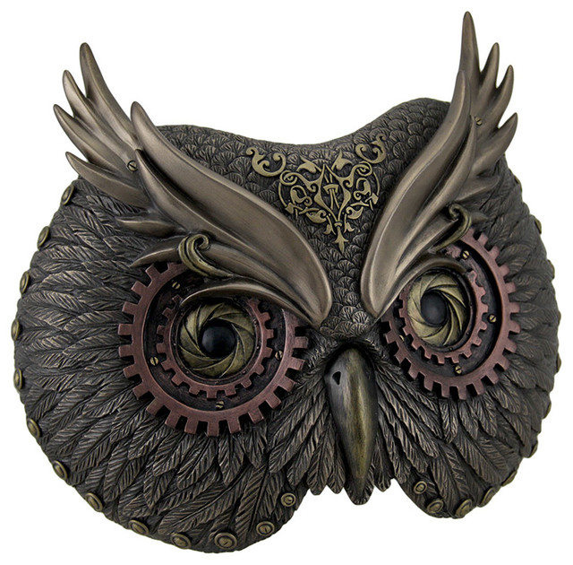 Metallic Bronze Steampunk Owl Head Wall Mask Traditional Metal Wall Art