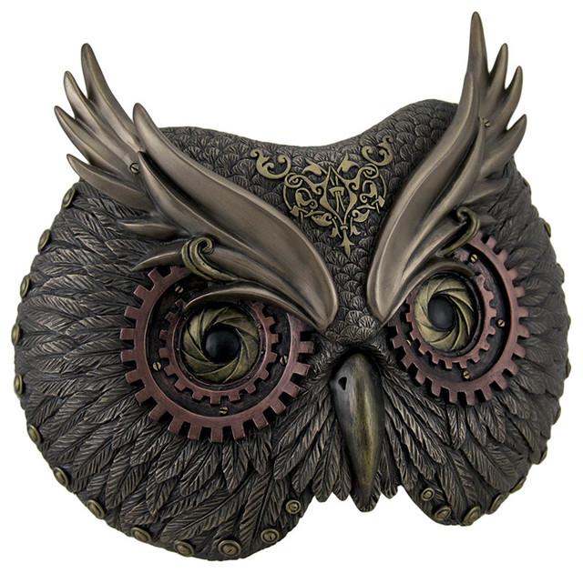 Metallic Bronze Steampunk Owl Head Wall Mask Traditional Metal Wall Art By Zeckos