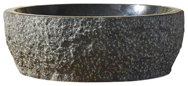 Melia Bathroom Vessel Sink, Shanxi Black Granite.