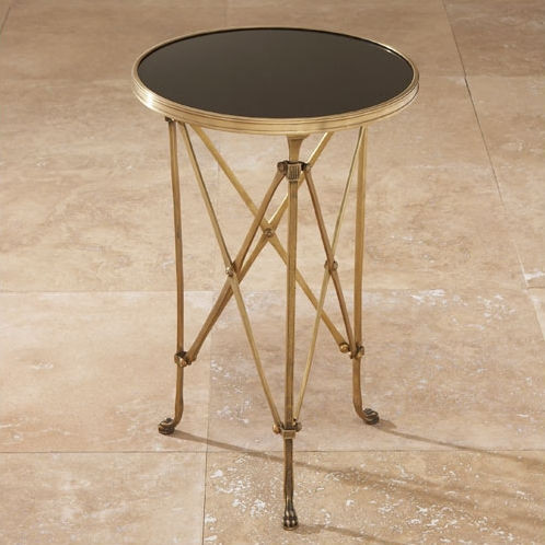 Directoire Brass and Black Granite End Table