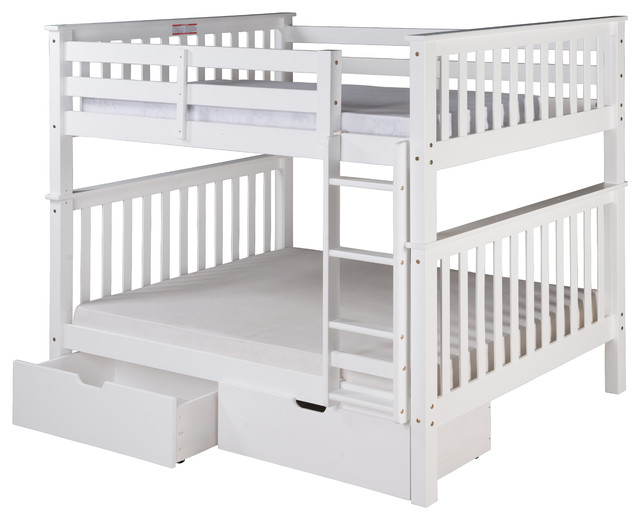 Santa Fe Mission Tall Bunk Bed Full Over Full, Ladder With Drawers, White.