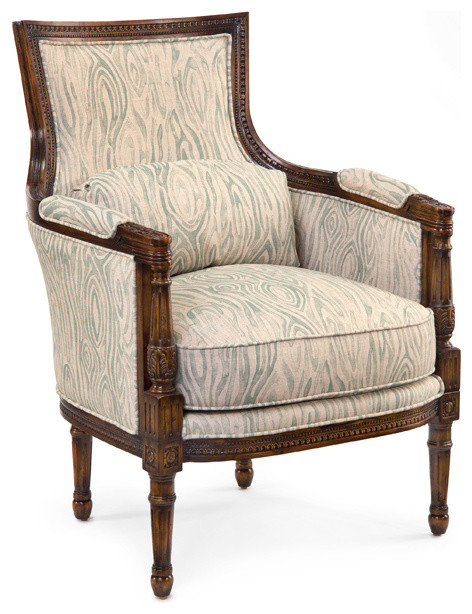 John Richard Barrel Back Carved Arm Chair Traditional Armchairs
