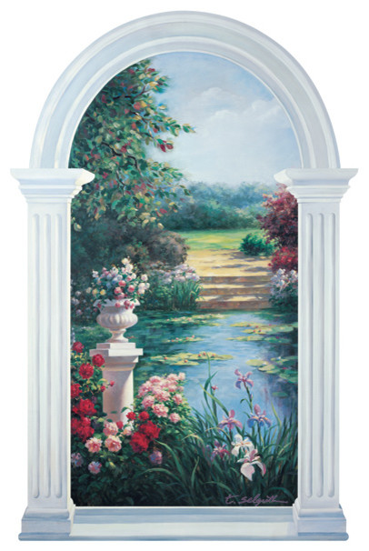 Monet inspired trompe loeil garden window mural