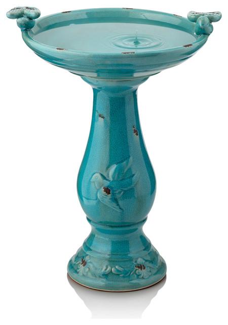 """Antique Ceramic Birdbath With Birds, Turquoise, 24"""""""