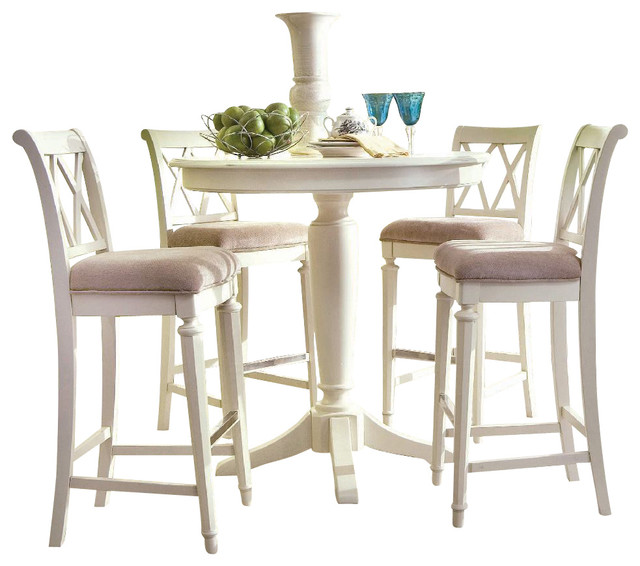 Drew Camden 5 Piece Bar Height Dining Set White