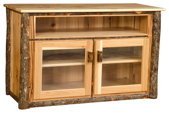Wooden Entertainment Center With Doors ~ Rustic hickory tv stand with glass doors all