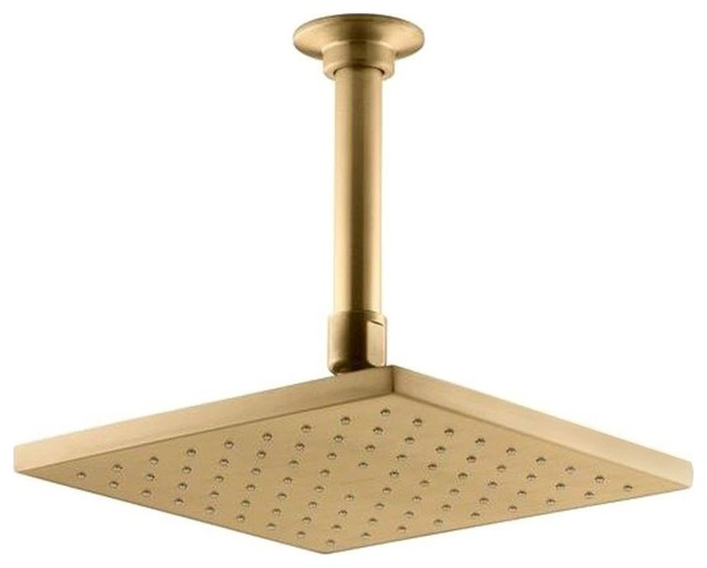 Gold Plated Square Led Rain Shower Head