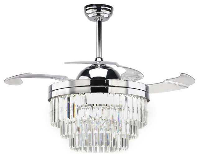 Lille Transitional Chandelier Ceiling Fan with LED light