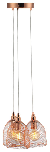 Blake Multi-Drop Pendant Lamp, Copper, 3 Bulbs. -1