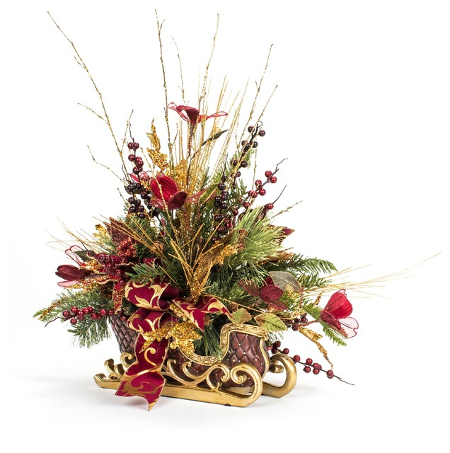 one of a kind red poinsettia christmas sleigh arrangement christmas sleigh holiday decor