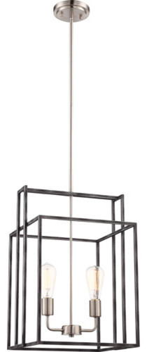 Nuvo 60/5857 Lake Pendants 14 Iron Black With Brushed Nickel Accents 2-Light.