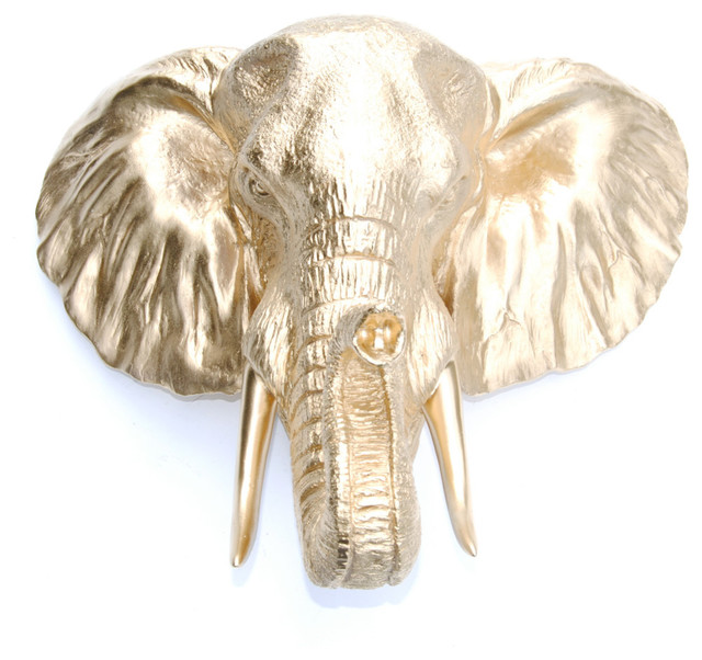 Faux Metallic Large Elephant  Wall Decor, Gold.
