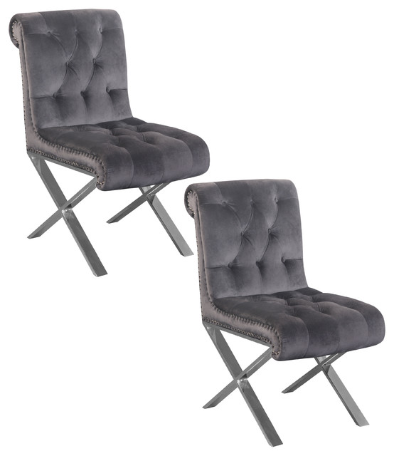 Claire Dining Chairs With Silver Legs Set Of 2