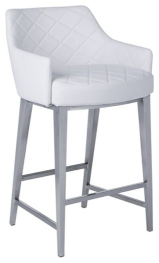Kenton Quilted Faux Leather Stool Modern Bar Stools