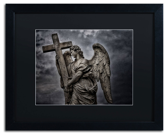 &x27;berninis Statue Of Angel&x27; Matted Framed Canvas Art By Erik Brede.