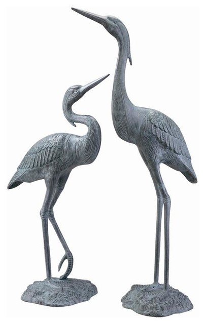 SPI Bronze Finish Garden Heron Pair Sculpture Indoor Outdoor