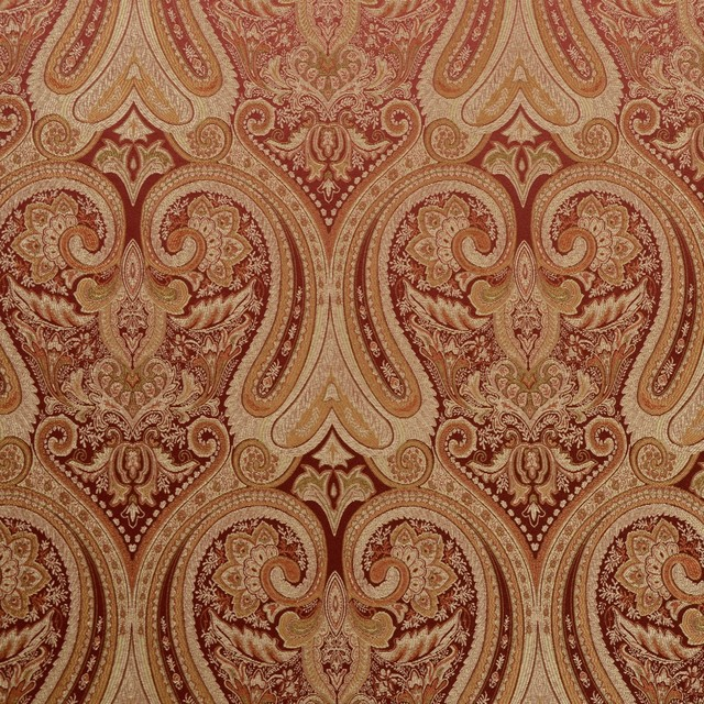 Gold Red Damask Sandoa Rust Swavelle  Fabric