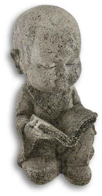 Volcanic Ash Stone Young Buddha Reading Statue Asian Garden
