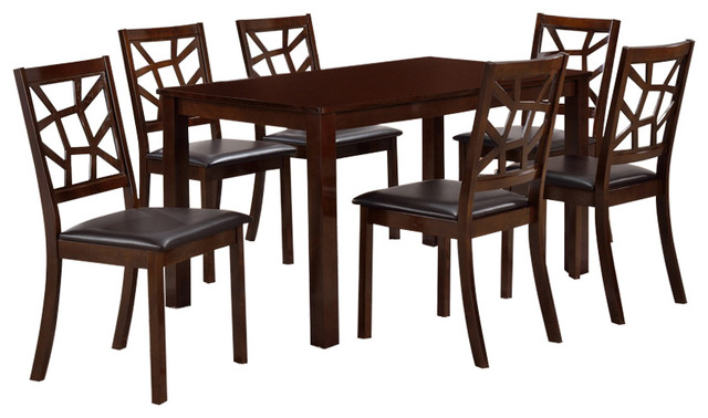 Mozaika Wood And Leather Contemporary 7 Piece Dining Set