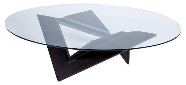 SOLD OUT Roche Bobois Oval Glass and Bentwood Coffee Table
