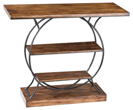 Sterling Industries Medium Oak Wood And Metal Console