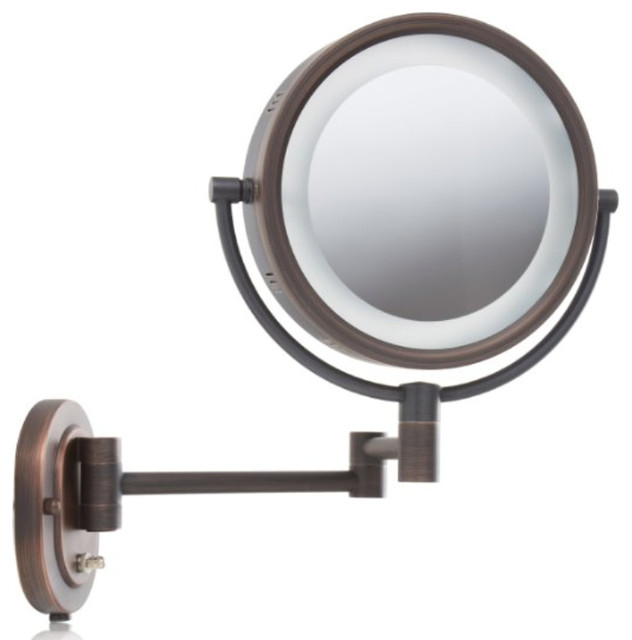 Jerdon jerdon hl65bz 8 two sided swivel halo light wall mount lighted 5x magnifying wall mount mirror contemporary makeup mirrors mozeypictures Image collections