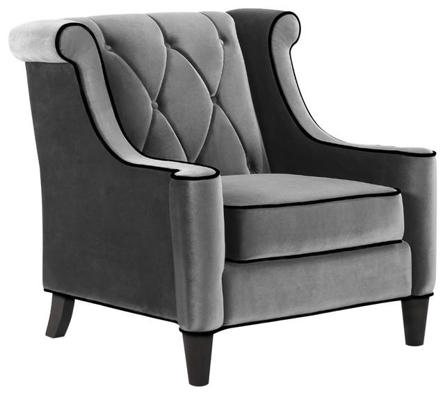 Barrister Chair Gray Velvet Black Piping by Armen Living