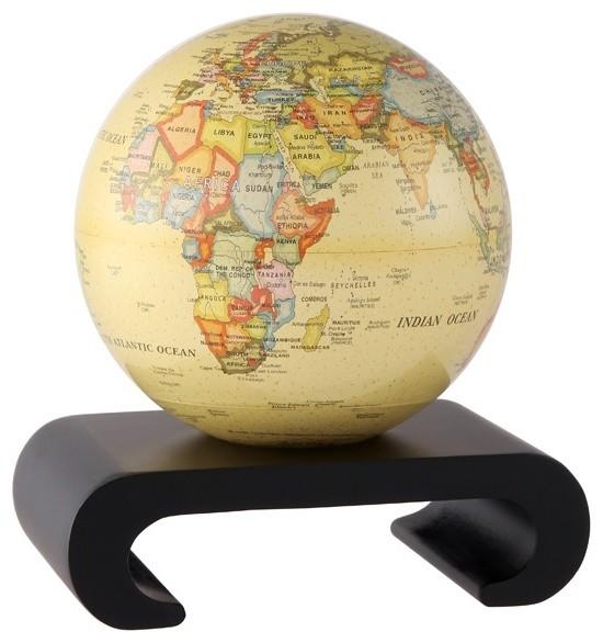 mova antique beige revolving globe 4 5 contemporary world