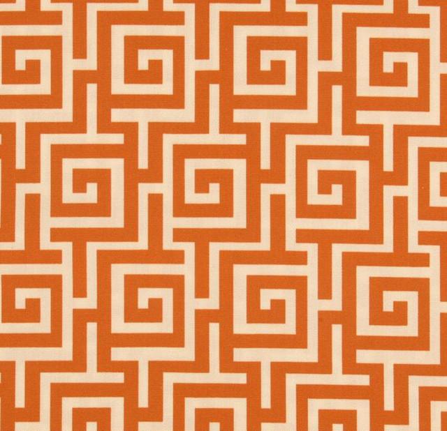 Indoor/Outdoor Oskar Persimmon Greek Key Fabric