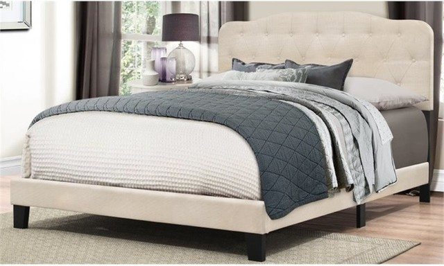 Bowery Hill Upholstered Queen Panel Bed, Linen.