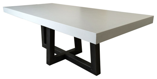 Torre Rectangle Concrete Dining Table White Linen 84x40
