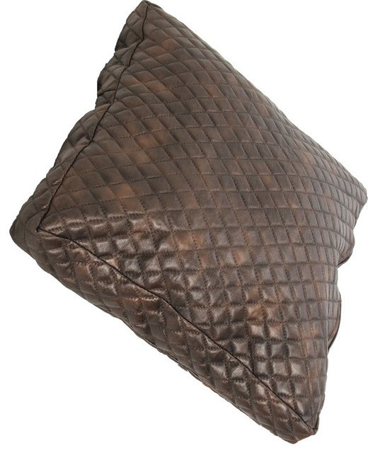faux leather pillow brown 15x25x15 quilted faux leather pillows