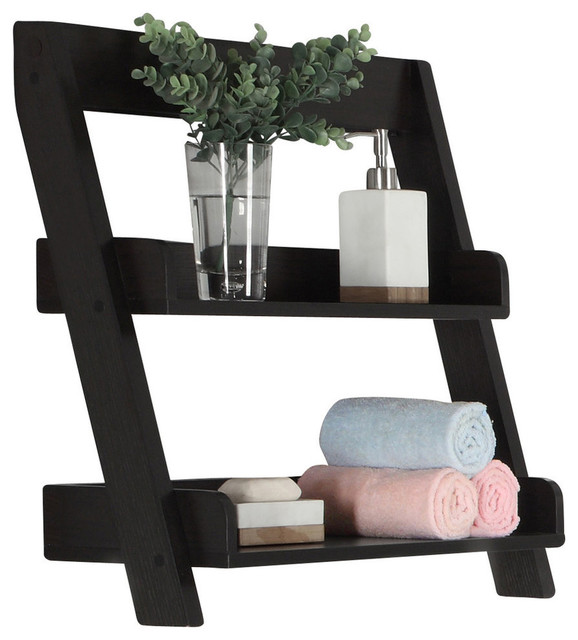 "Bathroom Accent - 24""h, Cappuccino Wall Mount Shelf."
