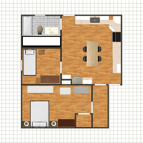If the room is 8x10  you would have the width for a 5 6  bathroom and give  up 2  for the closet. Need advice for a kitchen bath bedroom remodel  Sketches attached