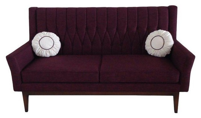 Attractive Lola Purple Quilted Sofa Midcentury Sofas