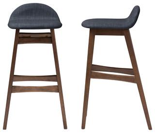 Surprising Bloom Walnut Wood Finishing 30 Bar Stools Set Of 2 Dark Blue Fabric Cjindustries Chair Design For Home Cjindustriesco