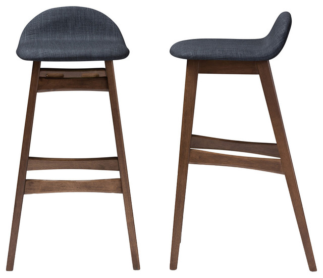 "Bloom Walnut Wood Finishing 30"" Bar Stools, Set Of 2, Dark Blue Fabric."