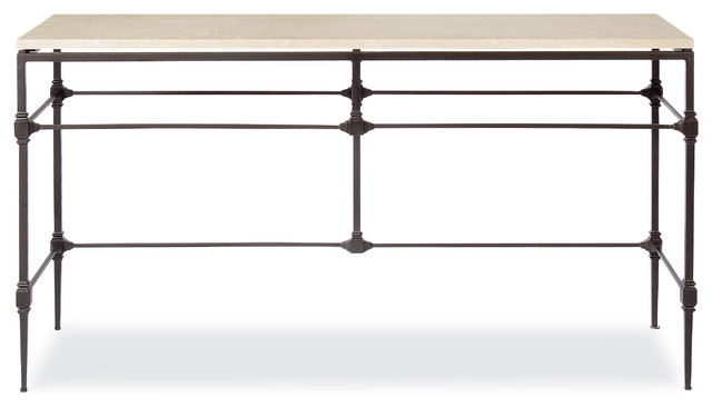 Tory Modern Classic Honed Travertine Aged Iron Console Table.