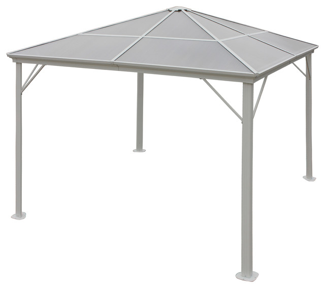 Halley Outdoor 10&x27;x10&x27; Black Aluminum Framed Gazebo (no Curtains), White.