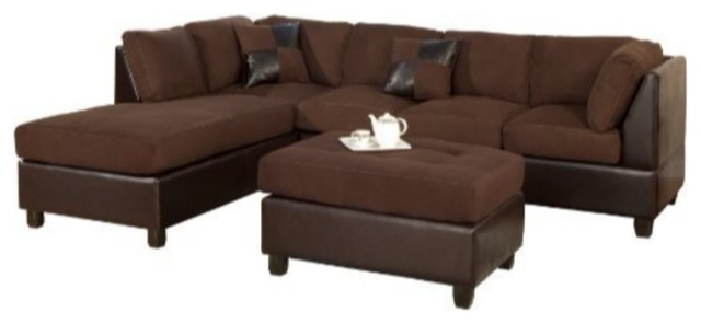 3 Piece Reversible Fabric And Faux Leather Sectional Sofa, Chocolate Finish.