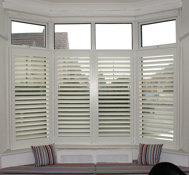 Plantation Shutters Cafe Style In A Bay Window With Seat Bournemouth Contemporary