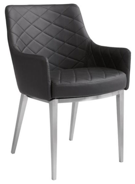 Dining Arm Chairs Black sleek leather armchair - midcentury - armchairs and accent chairs