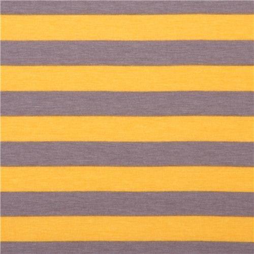 Riley Blake stretch knit fabric thin stripes yellow-gray