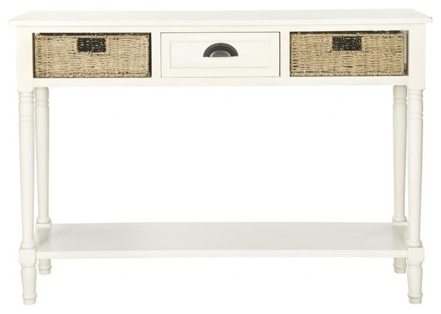 safavieh winifred wicker console table with storage white