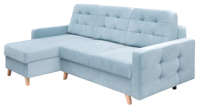 Vegas Futon Sectional Sofa Bed Queen Sleeper With Storage Blue