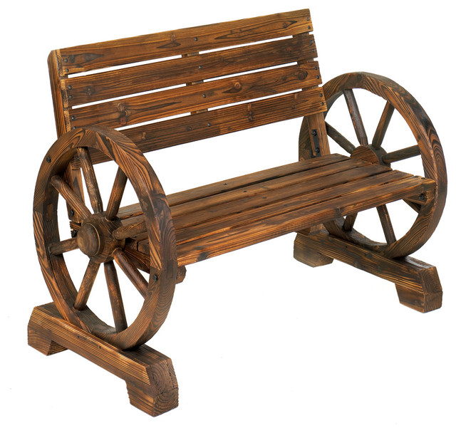 Wagon Wheel Bench Farmhouse Outdoor Benches