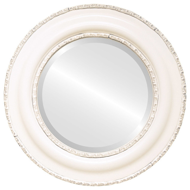 Somerset Framed Round Mirror In Linen White 29 X29