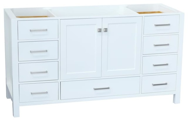 "Ariel Cambridge 60"" Wood Vanity Cabinet Only, White."