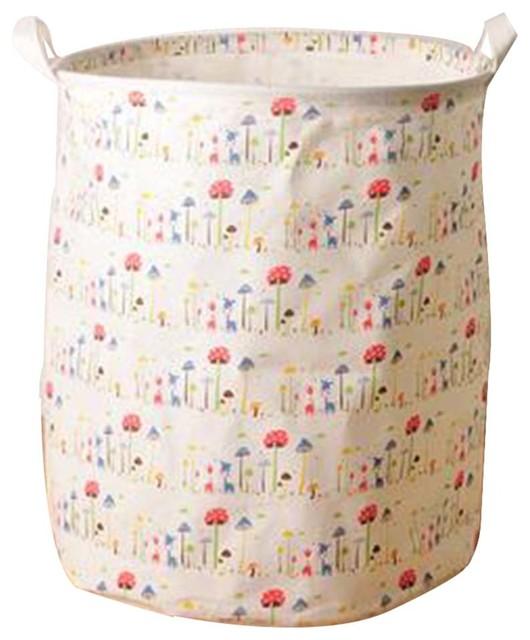 Cotton Linen Waterproof Laundry Basket, Mushroom.